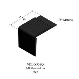 Johnsonite VDL-XX-SQ Resilient Stair Nose (Square), 12 ft. Length