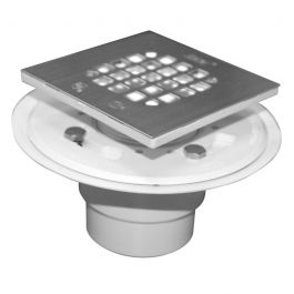 Oatey 42251 PVC Shower Drain w/Square Brushed Nickel Strainer