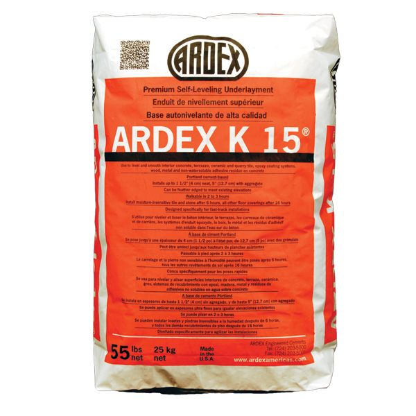 Ardex K-15 Self-Leveling Underlayment Concrete, 55 lb. Bag