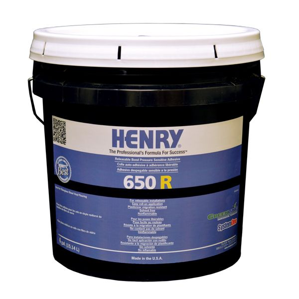 Henry 650 R Releasable Bond Pressure Sensitive Adhesive, 4 Gal. Pail