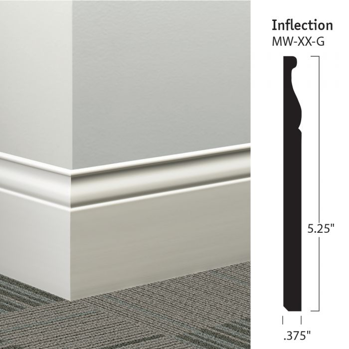 """Unique Millwork Wall Covering And: Johnsonite MW-XX-G Inflection 5-1/4"""" Millwork Wall Base"""