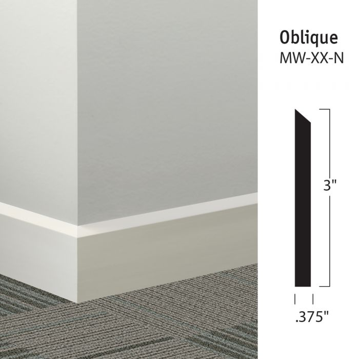"""Unique Millwork Wall Covering And: Johnsonite MW-XX-N Oblique 3"""" Millwork Wall Base"""