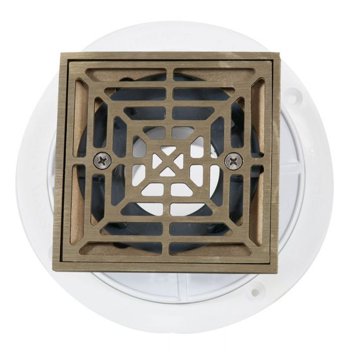 Noble PVC Shower Drain with Square Nickel Bronze Strainer