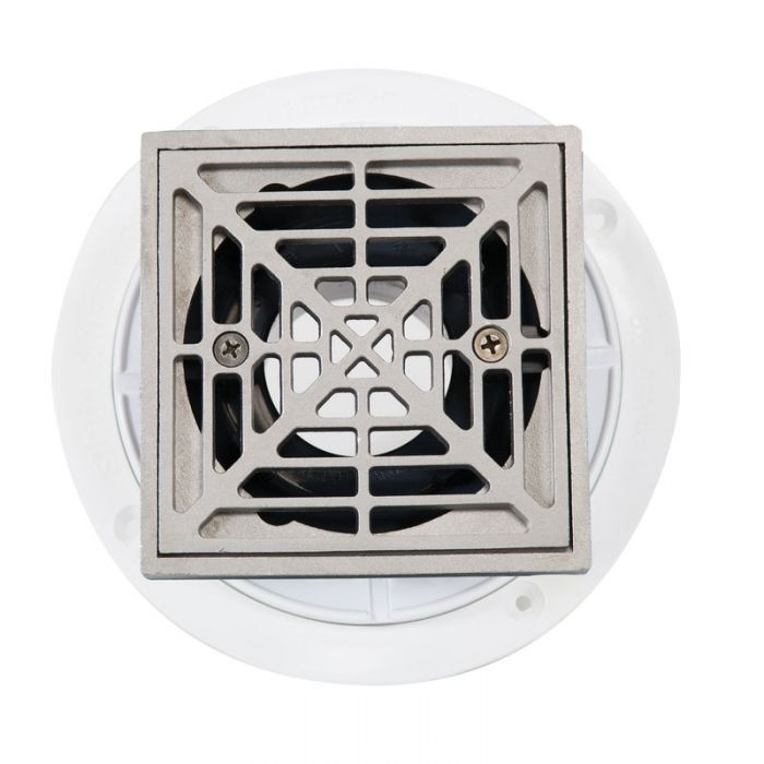 Noble PVC Shower Drain with Square Matte Silver Strainer