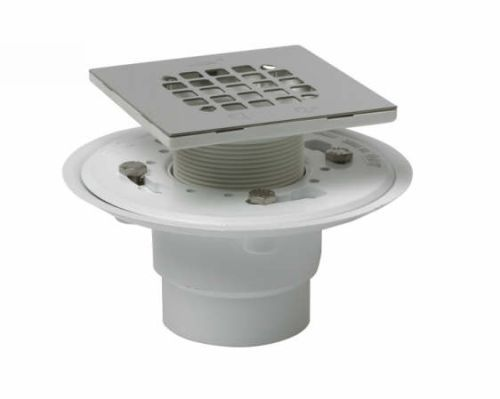 Oatey 42237 PVC Shower Drain w/Square Stainless Steel Strainer