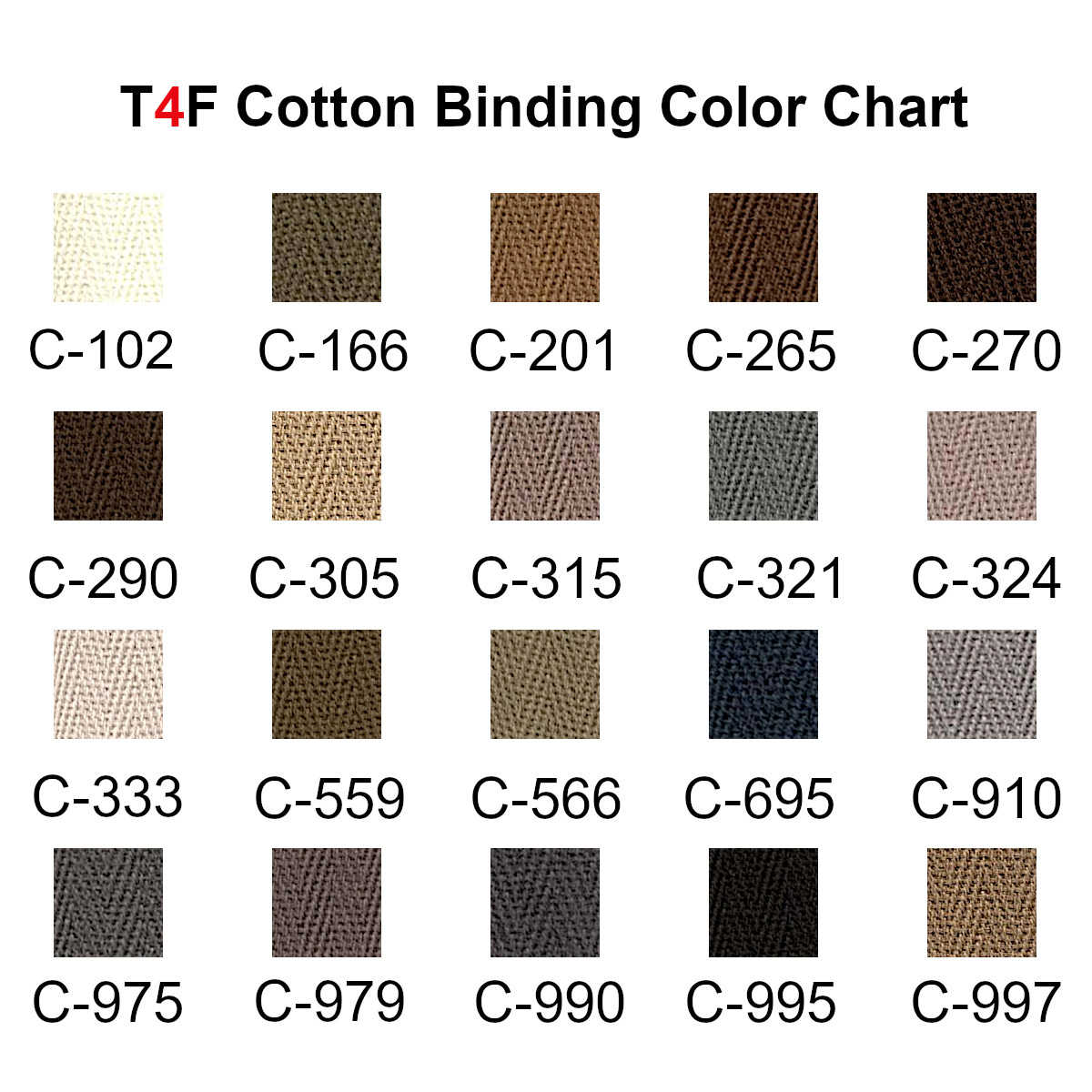 T4F Cotton Binding Color Chart